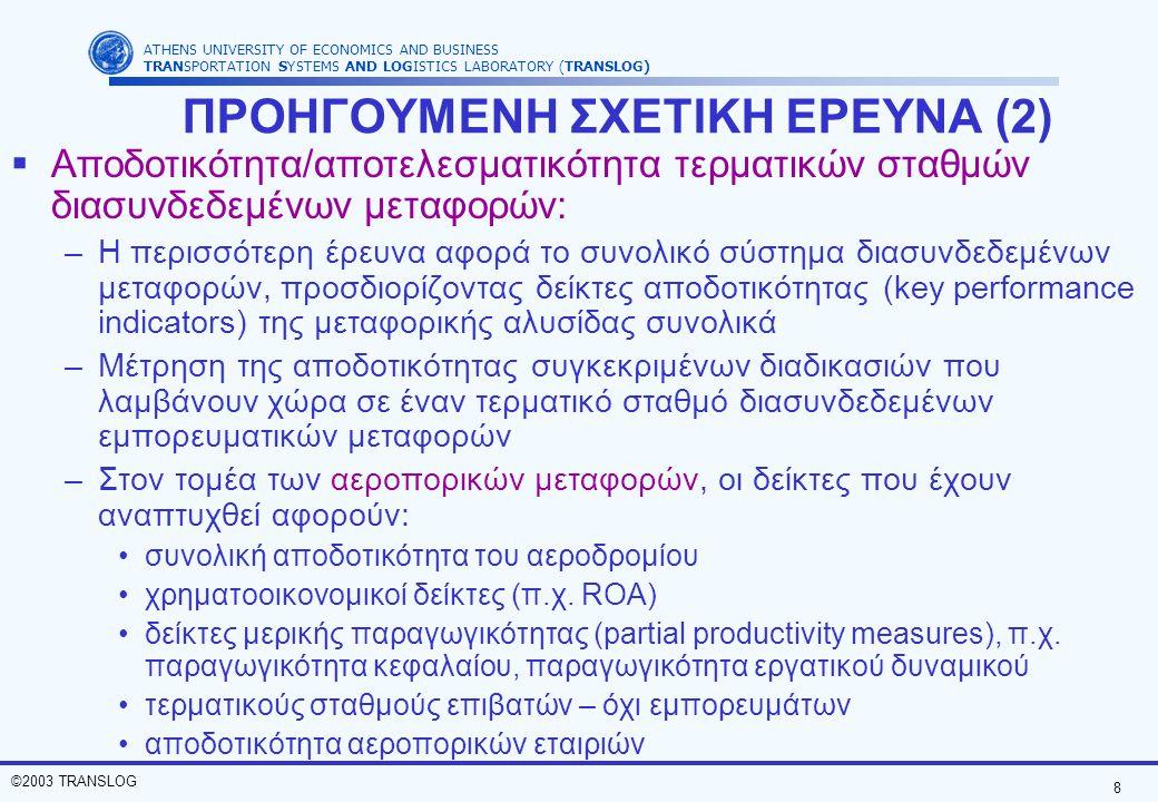 9 ©2003 TRANSLOG ATHENS UNIVERSITY OF ECONOMICS AND BUSINESS TRANSPORTATION SYSTEMS AND LOGISTICS LABORATORY (TRANSLOG) Υποστήριξη στους decision makers για αποφάσεις που αφορούν τους τερματικούς σταθμούς και τις στρατηγικές διοίκησης ΓΙΑΤΙ ΝΑ ΓΙΝΕΙ Η ΔΙΑΤΡΙΒΗ Περεταίρω έρευνα θα επαυξήσει τους ήδη υπάρχοντες δείκτες αποδοτικότητας και θα καλύψει όλες τις πλευρές της αποδοτικότητας διαφορετικών τύπων τερματικών σταθμών Λίγη έμφαση αποκλειστικά σε τερματικούς σταθμούς διασυνδεδεμένων εμπορευματικών μεταφορών σε αεροδρόμια vs.