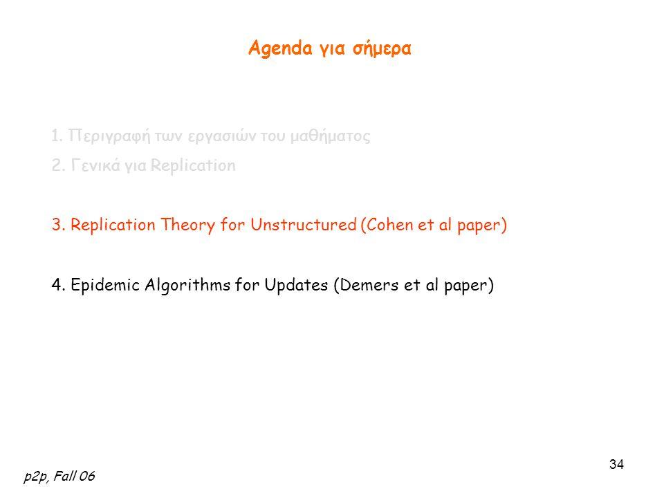 p2p, Fall 06 34 Agenda για σήμερα 1. Περιγραφή των εργασιών του μαθήματος 2. Γενικά για Replication 3. Replication Theory for Unstructured (Cohen et a