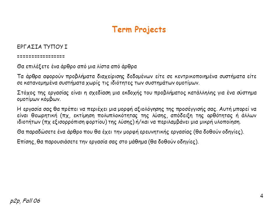 p2p, Fall 06 4 Term Projects ΕΡΓΑΣΙΑ ΤΥΠΟΥ I ================= Θα επιλέξετε ένα άρθρο από μια λίστα από άρθρα Τα άρθρα αφορούν προβλήματα διαχείρισης