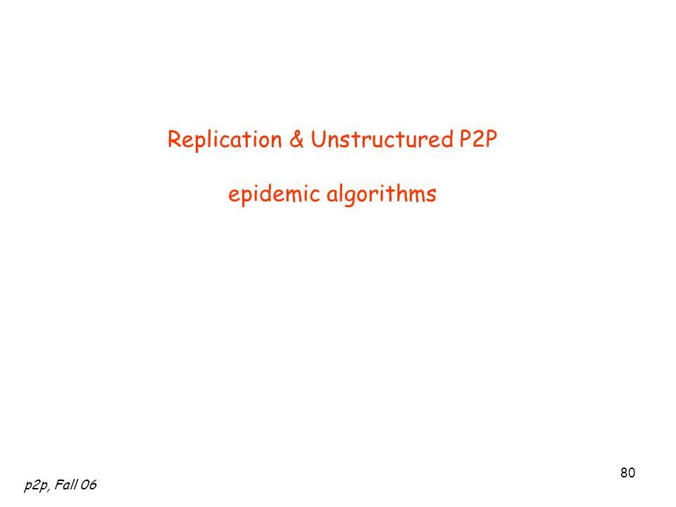 p2p, Fall 06 80 Replication & Unstructured P2P epidemic algorithms