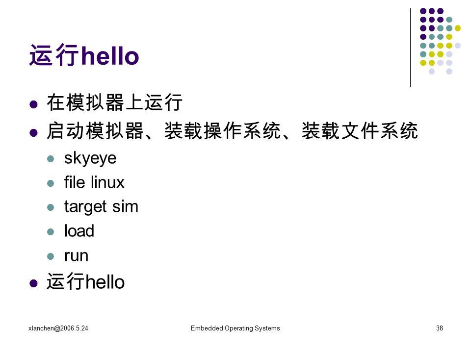 xlanchen@2006.5.24Embedded Operating Systems38 运行 hello 在模拟器上运行 启动模拟器、装载操作系统、装载文件系统 skyeye file linux target sim load run 运行 hello