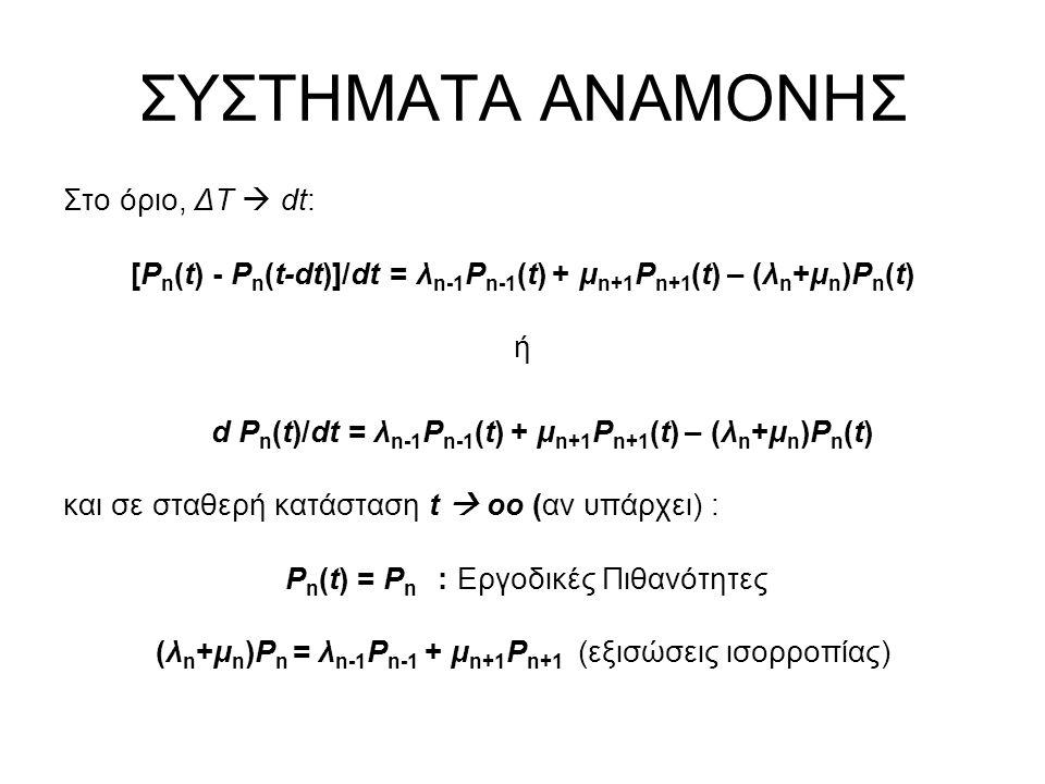 ΣΥΣΤΗΜΑΤΑ ΑΝΑΜΟΝΗΣ Στο όριο, ΔΤ  dt: [P n (t) - P n (t-dt)]/dt = λ n-1 P n-1 (t) + μ n+1 P n+1 (t) – (λ n +μ n )P n (t) ή d P n (t)/dt = λ n-1 P n-1
