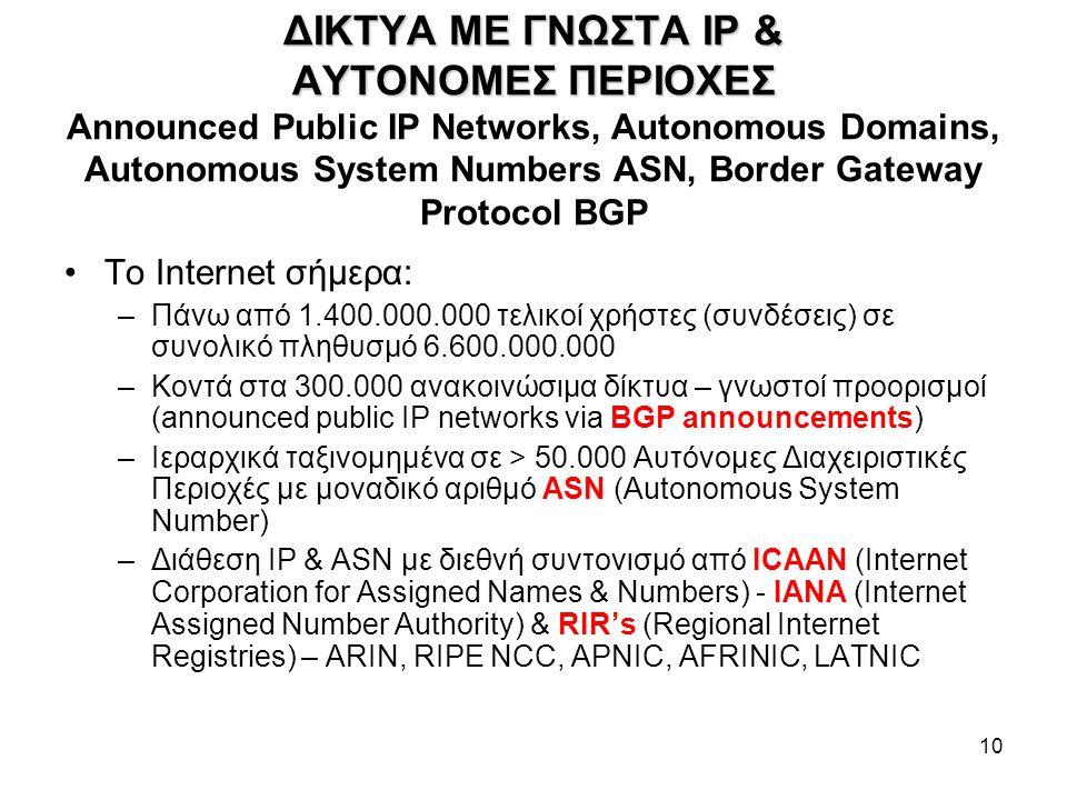 10 ΔΙΚΤΥΑ ME ΓΝΩΣΤΑ IP & ΑΥΤΟΝΟΜΕΣ ΠΕΡΙΟΧΕΣ ΔΙΚΤΥΑ ME ΓΝΩΣΤΑ IP & ΑΥΤΟΝΟΜΕΣ ΠΕΡΙΟΧΕΣ Announced Public IP Networks, Autonomous Domains, Autonomous System Numbers ASN, Border Gateway Protocol BGP Το Internet σήμερα: –Πάνω από 1.400.000.000 τελικοί χρήστες (συνδέσεις) σε συνολικό πληθυσμό 6.600.000.000 –Κοντά στα 300.000 ανακοινώσιμα δίκτυα – γνωστοί προορισμοί (announced public IP networks via BGP announcements) –Ιεραρχικά ταξινομημένα σε > 50.000 Αυτόνομες Διαχειριστικές Περιοχές με μοναδικό αριθμό ASN (Autonomous System Number) –Διάθεση IP & ASN με διεθνή συντονισμό από ICAAN (Internet Corporation for Assigned Names & Numbers) - IANA (Internet Assigned Number Authority) & RIR's (Regional Internet Registries) – ARIN, RIPE NCC, APNIC, AFRINIC, LATNIC