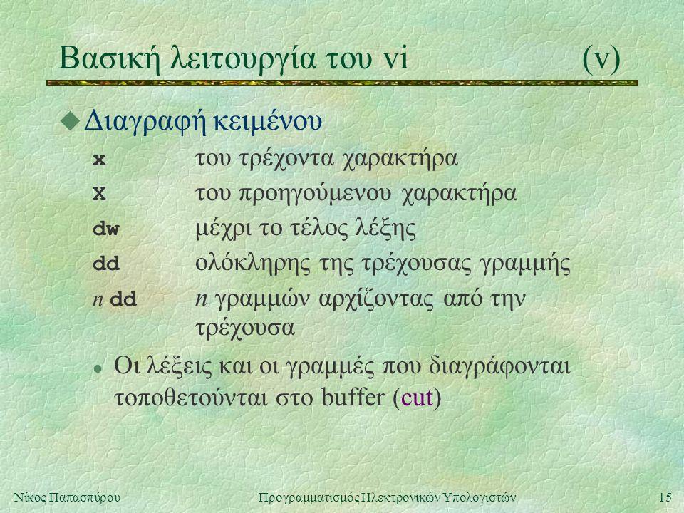15Νίκος Παπασπύρου Προγραμματισμός Ηλεκτρονικών Υπολογιστών Βασική λειτουργία του vi(v) u Διαγραφή κειμένου x του τρέχοντα χαρακτήρα Χ του προηγούμενου χαρακτήρα dw μέχρι το τέλος λέξης dd ολόκληρης της τρέχουσας γραμμής n dd n γραμμών αρχίζοντας από την τρέχουσα l Οι λέξεις και οι γραμμές που διαγράφονται τοποθετούνται στο buffer (cut)