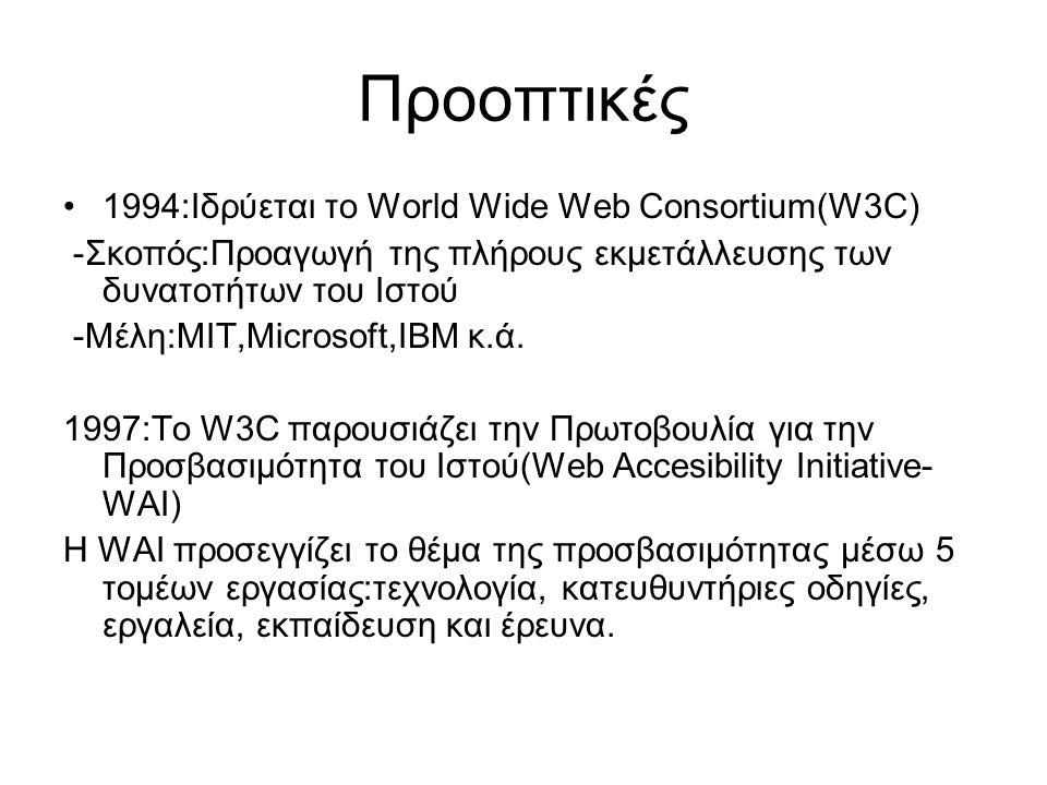Προοπτικές 1994:Ιδρύεται το World Wide Web Consortium(W3C) -Σκοπός:Προαγωγή της πλήρους εκμετάλλευσης των δυνατοτήτων του Ιστού -Μέλη:ΜΙΤ,Microsoft,IBM κ.ά.