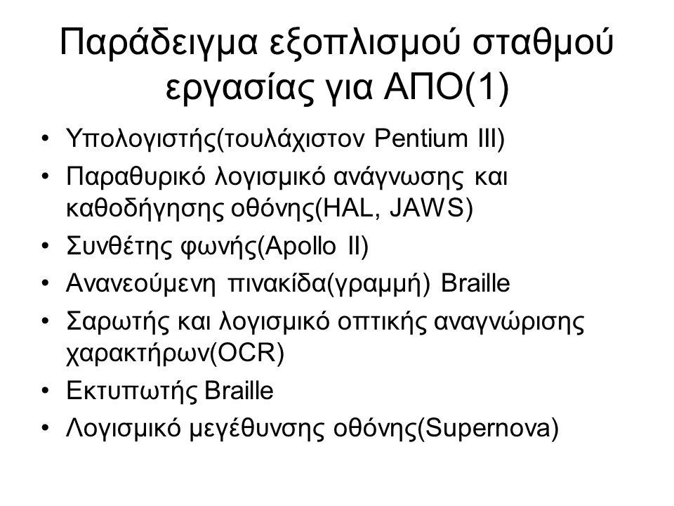 Παράδειγμα εξοπλισμού σταθμού εργασίας για ΑΠΟ(1) Υπολογιστής(τουλάχιστον Pentium III) Παραθυρικό λογισμικό ανάγνωσης και καθοδήγησης οθόνης(HAL, JAWS) Συνθέτης φωνής(Apollo II) Ανανεούμενη πινακίδα(γραμμή) Braille Σαρωτής και λογισμικό οπτικής αναγνώρισης χαρακτήρων(OCR) Εκτυπωτής Braille Λογισμικό μεγέθυνσης οθόνης(Supernova)