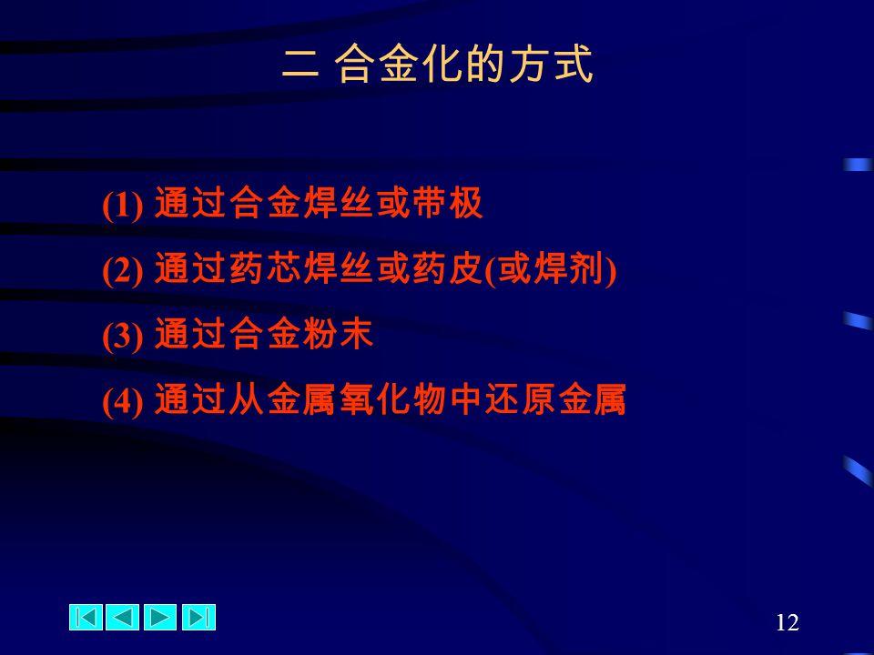 12 (1) 通过合金焊丝或带极 (2) 通过药芯焊丝或药皮 ( 或焊剂 ) (3) 通过合金粉末 (4) 通过从金属氧化物中还原金属 二 合金化的方式