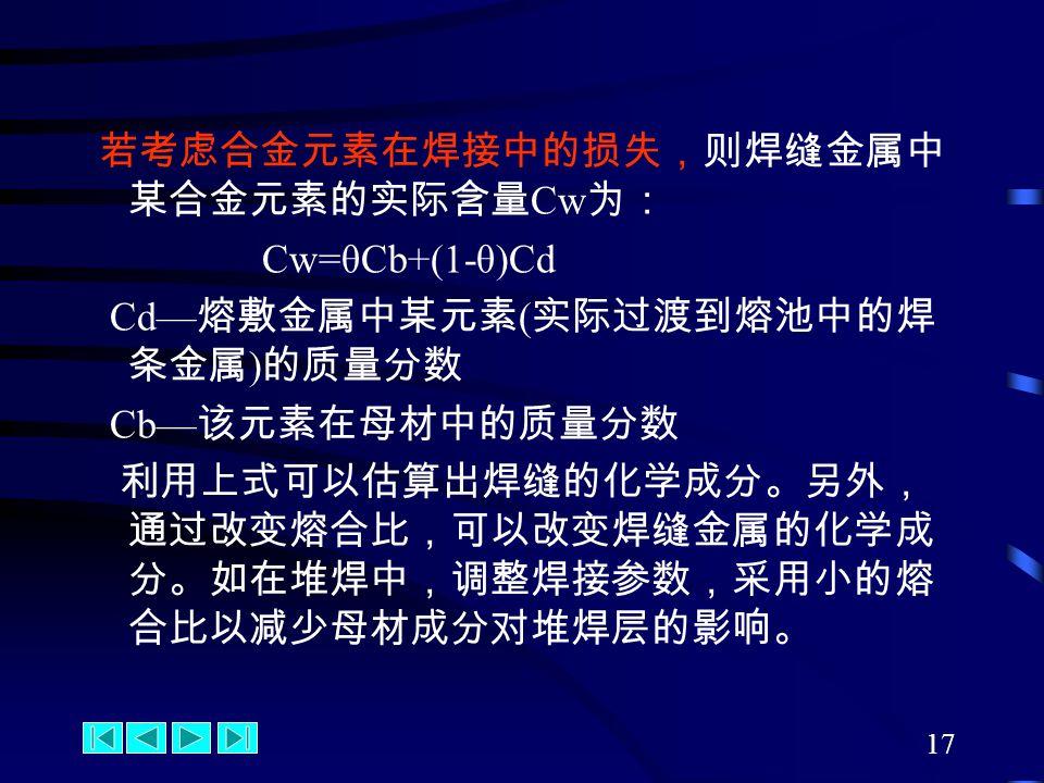 17 若考虑合金元素在焊接中的损失,则焊缝金属中 某合金元素的实际含量 Cw 为: Cw=θCb+(1-θ)Cd Cd— 熔敷金属中某元素 ( 实际过渡到熔池中的焊 条金属 ) 的质量分数 Cb— 该元素在母材中的质量分数 利用上式可以估算出焊缝的化学成分。另外, 通过改变熔合比,可以改变焊缝金属的化学成 分。如在堆焊中,调整焊接参数,采用小的熔 合比以减少母材成分对堆焊层的影响。