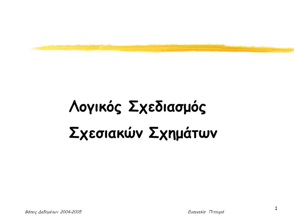 Βάσεις Δεδομένων 2004-2005 Ευαγγελία Πιτουρά 1 Λογικός Σχεδιασμός Σχεσιακών Σχημάτων