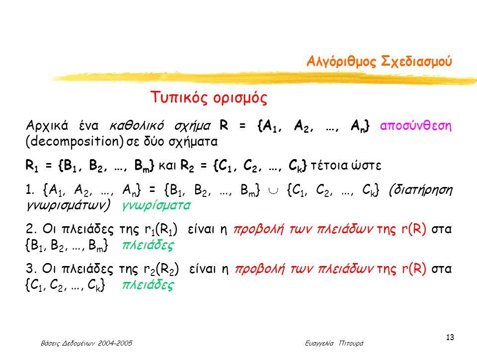 Βάσεις Δεδομένων 2004-2005 Ευαγγελία Πιτουρά 13 Αλγόριθμος Σχεδιασμού Αρχικά ένα καθολικό σχήμα R = {A 1, A 2, …, A n } αποσύνθεση (decomposition) σε δύο σχήματα R 1 = {B 1, B 2, …, B m } και R 2 = {C 1, C 2, …, C k } τέτοια ώστε 1.
