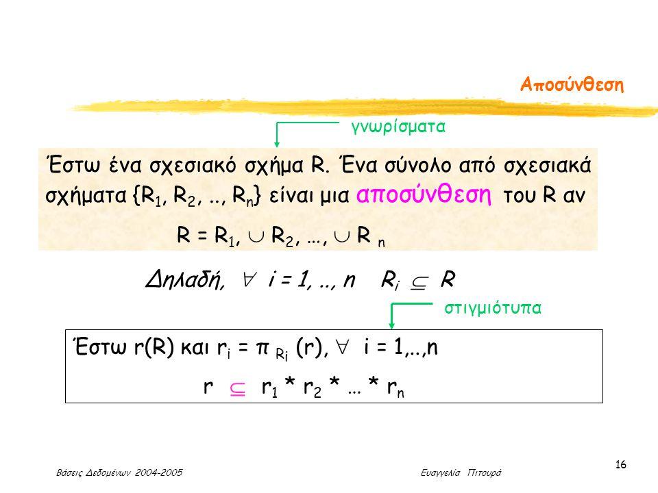 Βάσεις Δεδομένων 2004-2005 Ευαγγελία Πιτουρά 16 Αποσύνθεση Έστω ένα σχεσιακό σχήμα R.