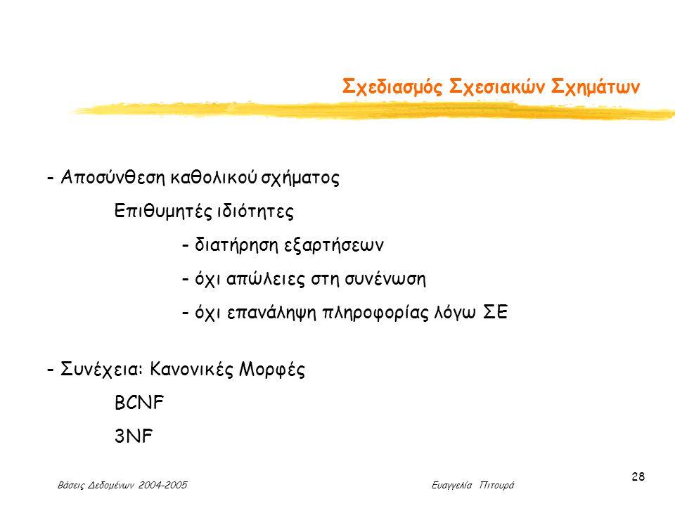 Βάσεις Δεδομένων 2004-2005 Ευαγγελία Πιτουρά 28 Σχεδιασμός Σχεσιακών Σχημάτων - Αποσύνθεση καθολικού σχήματος Επιθυμητές ιδιότητες - διατήρηση εξαρτήσεων - όχι απώλειες στη συνένωση - όχι επανάληψη πληροφορίας λόγω ΣΕ - Συνέχεια: Κανονικές Μορφές BCNF 3NF