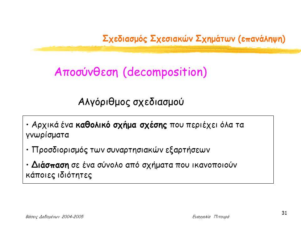 Βάσεις Δεδομένων 2004-2005 Ευαγγελία Πιτουρά 31 Σχεδιασμός Σχεσιακών Σχημάτων (επανάληψη) Αλγόριθμος σχεδιασμού Αρχικά ένα καθολικό σχήμα σχέσης που περιέχει όλα τα γνωρίσματα Προσδιορισμός των συναρτησιακών εξαρτήσεων Διάσπαση σε ένα σύνολο από σχήματα που ικανοποιούν κάποιες ιδιότητες Αποσύνθεση (decomposition)