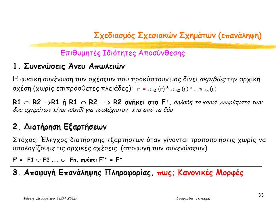 Βάσεις Δεδομένων 2004-2005 Ευαγγελία Πιτουρά 33 Σχεδιασμός Σχεσιακών Σχημάτων (επανάληψη) Επιθυμητές Ιδιότητες Αποσύνθεσης 2.