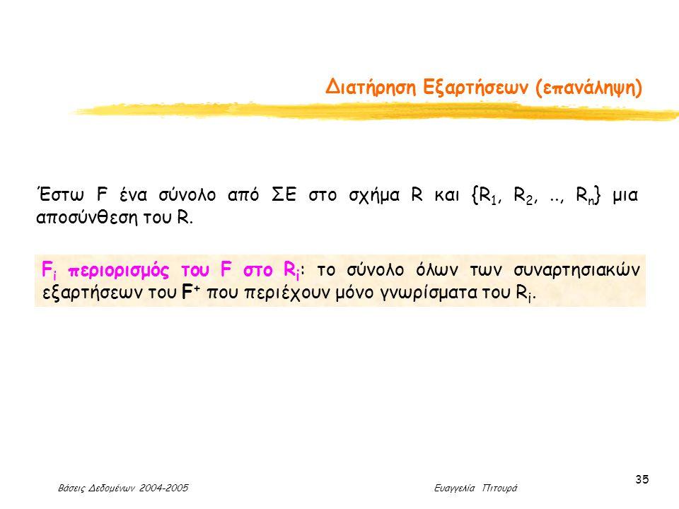 Βάσεις Δεδομένων 2004-2005 Ευαγγελία Πιτουρά 35 Διατήρηση Εξαρτήσεων (επανάληψη) F i περιορισμός του F στο R i : το σύνολο όλων των συναρτησιακών εξαρτήσεων του F + που περιέχουν μόνο γνωρίσματα του R i.