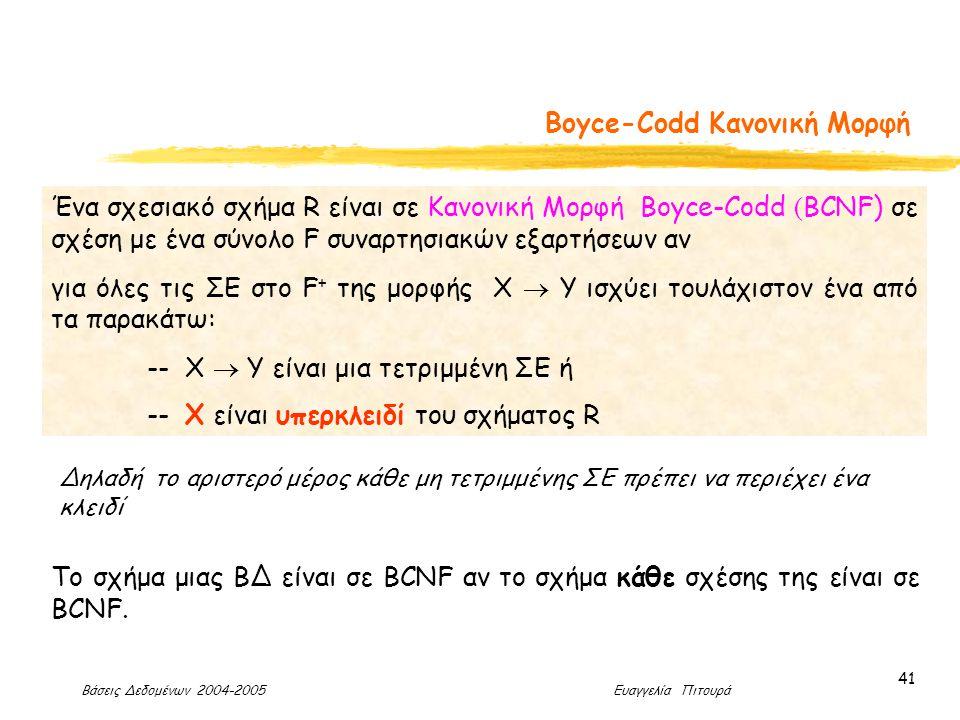 Βάσεις Δεδομένων 2004-2005 Ευαγγελία Πιτουρά 41 Boyce-Codd Κανονική Μορφή Ένα σχεσιακό σχήμα R είναι σε Κανονική Μορφή Boyce-Codd ( BCNF) σε σχέση με ένα σύνολο F συναρτησιακών εξαρτήσεων αν για όλες τις ΣΕ στο F + της μορφής X  Y ισχύει τουλάχιστον ένα από τα παρακάτω: -- X  Y είναι μια τετριμμένη ΣΕ ή -- X είναι υπερκλειδί του σχήματος R Δηλαδή το αριστερό μέρος κάθε μη τετριμμένης ΣΕ πρέπει να περιέχει ένα κλειδί Το σχήμα μιας ΒΔ είναι σε BCNF αν το σχήμα κάθε σχέσης της είναι σε BCNF.