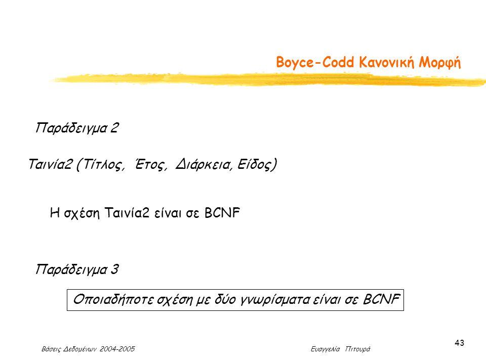 Βάσεις Δεδομένων 2004-2005 Ευαγγελία Πιτουρά 43 Boyce-Codd Κανονική Μορφή Παράδειγμα 2 Ταινία2 (Τίτλος, Έτος, Διάρκεια, Είδος) Η σχέση Ταινία2 είναι σε BCNF Παράδειγμα 3 Οποιαδήποτε σχέση με δύο γνωρίσματα είναι σε BCNF