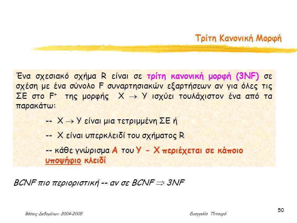 Βάσεις Δεδομένων 2004-2005 Ευαγγελία Πιτουρά 50 Τρίτη Κανονική Μορφή Ένα σχεσιακό σχήμα R είναι σε τρίτη κανονική μορφή (3ΝF) σε σχέση με ένα σύνολο F συναρτησιακών εξαρτήσεων αν για όλες τις ΣΕ στο F + της μορφής X  Y ισχύει τουλάχιστον ένα από τα παρακάτω: -- X  Y είναι μια τετριμμένη ΣΕ ή -- X είναι υπερκλειδί του σχήματος R -- κάθε γνώρισμα Α του Υ - Χ περιέχεται σε κάποιο υποψήφιο κλειδί BCNF πιο περιοριστική -- αν σε BCNF  3NF