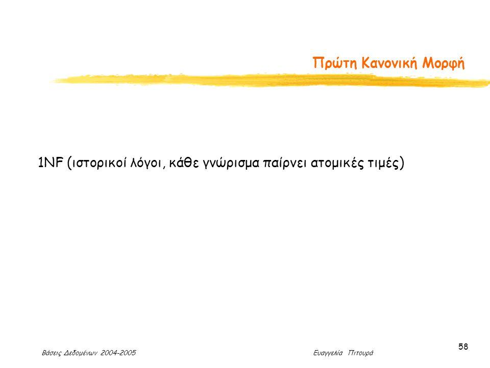 Βάσεις Δεδομένων 2004-2005 Ευαγγελία Πιτουρά 58 Πρώτη Κανονική Μορφή 1NF (ιστορικοί λόγοι, κάθε γνώρισμα παίρνει ατομικές τιμές)
