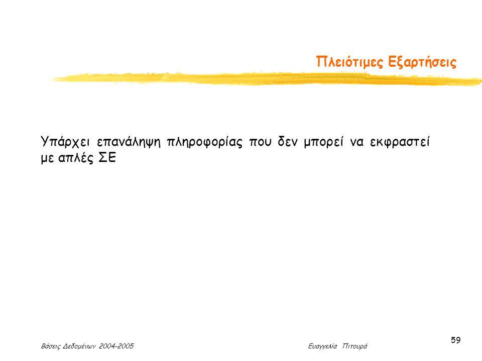 Βάσεις Δεδομένων 2004-2005 Ευαγγελία Πιτουρά 59 Πλειότιμες Εξαρτήσεις Υπάρχει επανάληψη πληροφορίας που δεν μπορεί να εκφραστεί με απλές ΣΕ