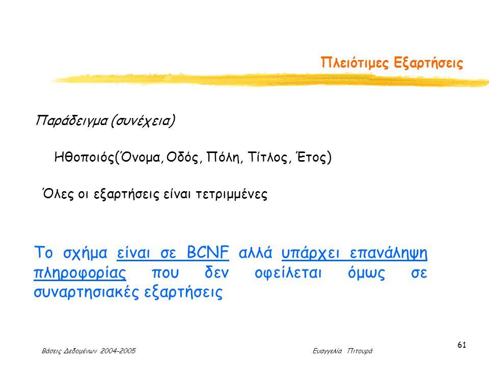 Βάσεις Δεδομένων 2004-2005 Ευαγγελία Πιτουρά 61 Πλειότιμες Εξαρτήσεις Παράδειγμα (συνέχεια) Ηθοποιός(Όνομα, Οδός, Πόλη, Τίτλος, Έτος) Το σχήμα είναι σε BCNF αλλά υπάρχει επανάληψη πληροφορίας που δεν οφείλεται όμως σε συναρτησιακές εξαρτήσεις Όλες οι εξαρτήσεις είναι τετριμμένες