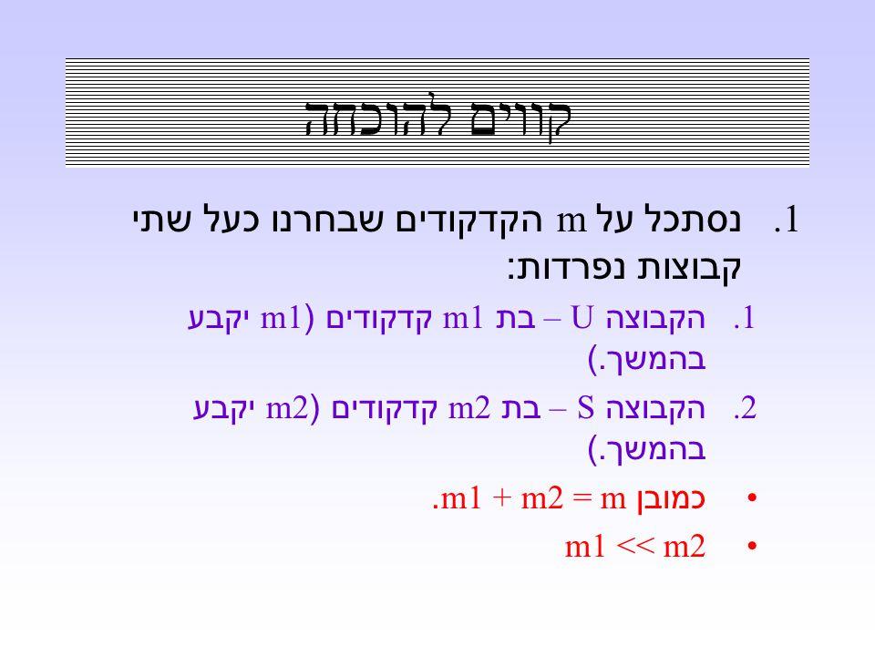 קווים להוכחה 1. נסתכל על m הקדקודים שבחרנו כעל שתי קבוצות נפרדות : 1. הקבוצה U – בת m1 קדקודים (m1 יקבע בהמשך.) 2. הקבוצה S – בת m2 קדקודים (m2 יקבע ב