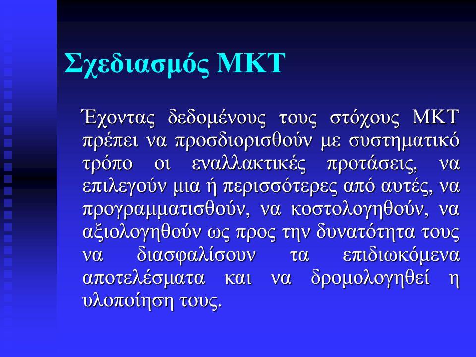 Σχεδιασμός ΜΚΤ Έχοντας δεδομένους τους στόχους ΜΚΤ πρέπει να προσδιορισθούν με συστηματικό τρόπο οι εναλλακτικές προτάσεις, να επιλεγούν μια ή περισσό