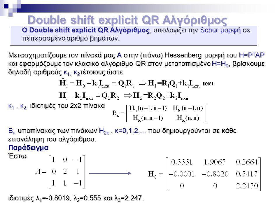 Double shift explicit QR Αλγόριθμος Double shift explicit QR Αλγόριθμος Ο Double shift explicit QR Αλγόριθμος, υπολογίζει την Schur μορφή σε Ο Double