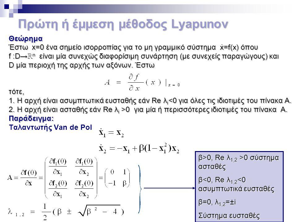 Πρώτη ή έμμεση μέθοδος Lyapunov Θεώρημα Έστω x=0 ένα σημείο ισορροπίας για το μη γραμμικό σύστημα ẋ=f(x) όπου f :D→ ℝ n είναι μία συνεχώς διαφορίσιμη