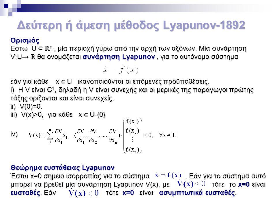 Δεύτερη ή άμεση μέθοδος Lyapunov-1892 Ορισμός Εστω U ⊂ ℝ n, μία περιοχή γύρω από την αρχή των αξόνων. Μία συνάρτηση V:U→ ℝ θα ονομάζεται συνάρτηση Lya