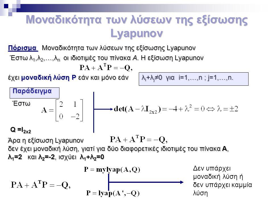 Μοναδικότητα των λύσεων της εξίσωσης Lyapunov Πόρισμα Μοναδικότητα των λύσεων της εξίσωσης Lyapunov Έστω λ 1,λ 2,…,λ n οι ιδιοτιμές του πίνακα Α. Η εξ