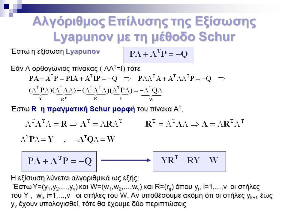 Αλγόριθμος Επίλυσης της Εξίσωσης Lyapunov με τη μέθοδο Schur Έστω η εξίσωση Lyapunov Εάν Λ ορθογώνιος πίνακας ( ΛΛ Τ =Ι) τότε Έστω R η πραγματική Schu
