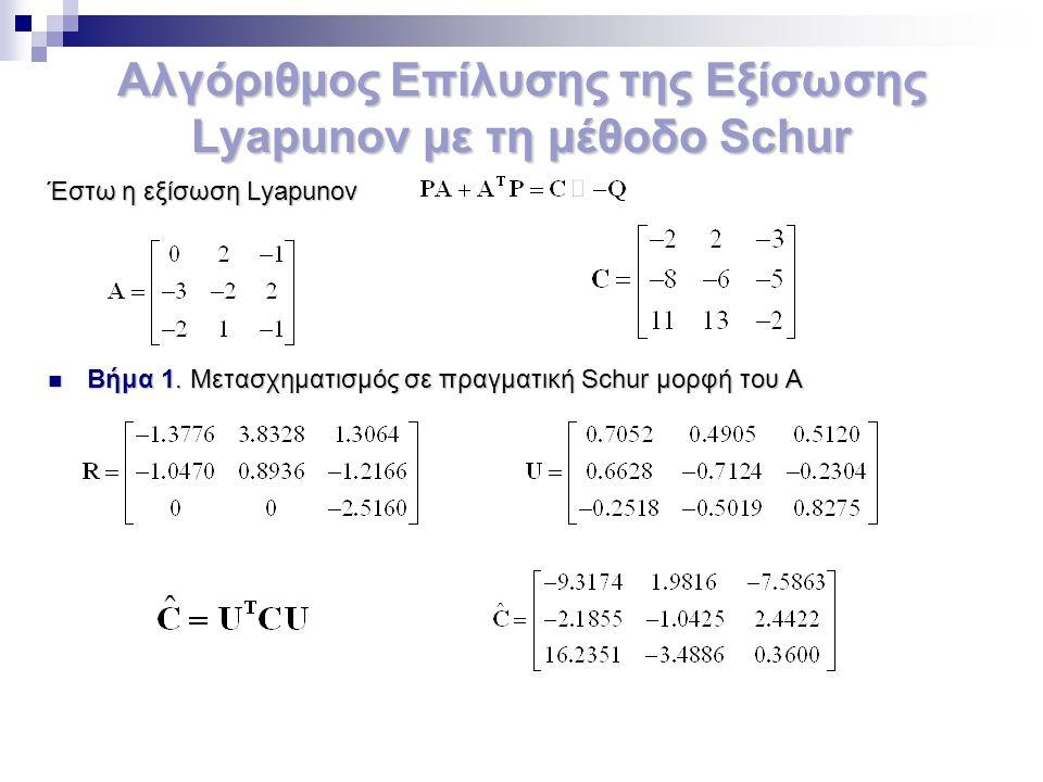 Αλγόριθμος Επίλυσης της Εξίσωσης Lyapunov με τη μέθοδο Schur Έστω η εξίσωση Lyapunov Βήμα 1. Μετασχηματισμός σε πραγματική Schur μορφή του Α Βήμα 1. Μ