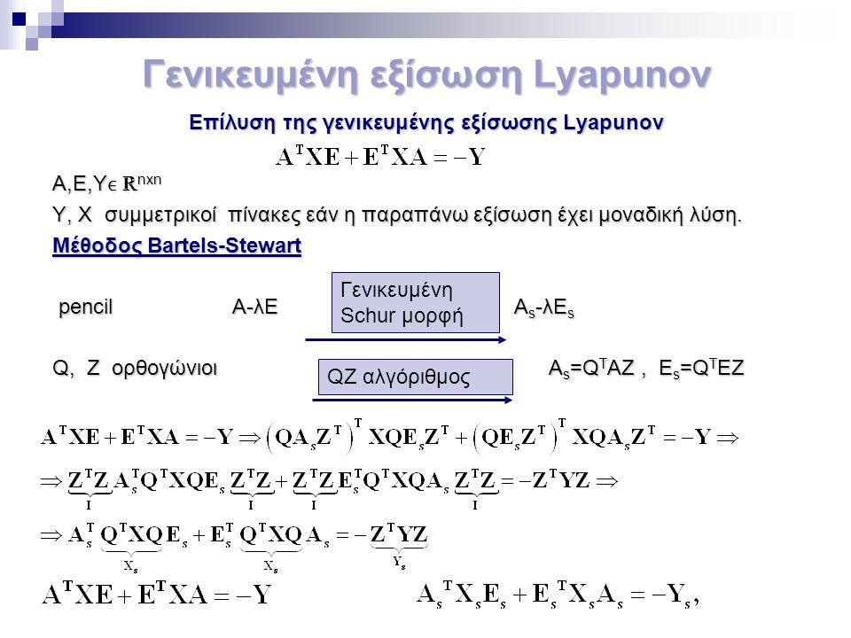 Γενικευμένη εξίσωση Lyapunov Eπίλυση της γενικευμένης εξίσωσης Lyapunov A,E,Y ℝ nxn Y, X συμμετρικoί πίνακες εάν η παραπάνω εξίσωση έχει μοναδική λύση