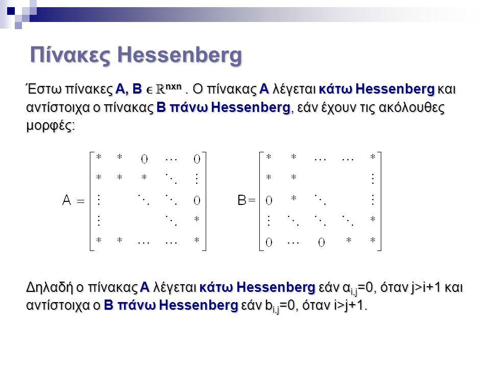 Πίνακες Hessenberg Έστω πίνακες Α, Β ℝ nxn. Ο πίνακας Α λέγεται κάτω Hessenberg και αντίστοιχα ο πίνακας Β πάνω Hessenberg, εάν έχουν τις ακόλουθες μο