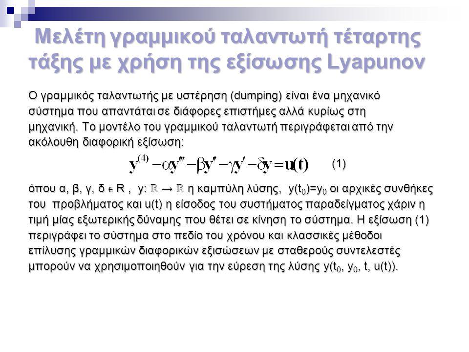 Μελέτη γραμμικού ταλαντωτή τέταρτης τάξης με χρήση της εξίσωσης Lyapunov Ο γραμμικός ταλαντωτής με υστέρηση (dumping) είναι ένα μηχανικό σύστημα που α