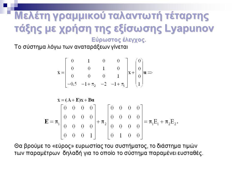 Μελέτη γραμμικού ταλαντωτή τέταρτης τάξης με χρήση της εξίσωσης Lyapunov Εύρωστος έλεγχος. Εύρωστος έλεγχος. Το σύστημα λόγω των αναταράξεων γίνεται Θ