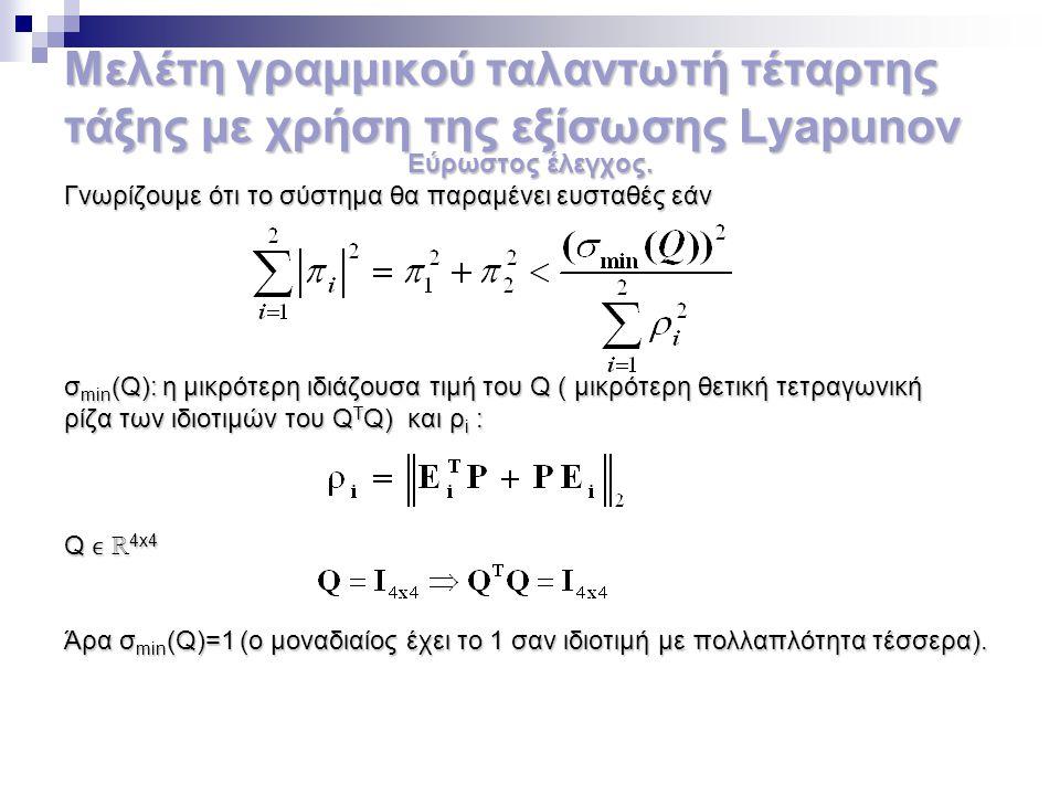 Μελέτη γραμμικού ταλαντωτή τέταρτης τάξης με χρήση της εξίσωσης Lyapunov Εύρωστος έλεγχος. Γνωρίζουμε ότι το σύστημα θα παραμένει ευσταθές εάν σ min (