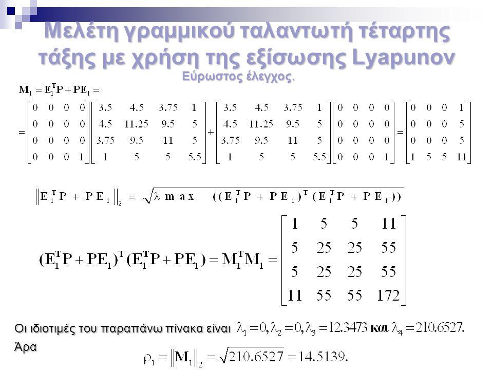 Μελέτη γραμμικού ταλαντωτή τέταρτης τάξης με χρήση της εξίσωσης Lyapunov Οι ιδιοτιμές του παραπάνω πίνακα είναι Άρα Εύρωστος έλεγχος.
