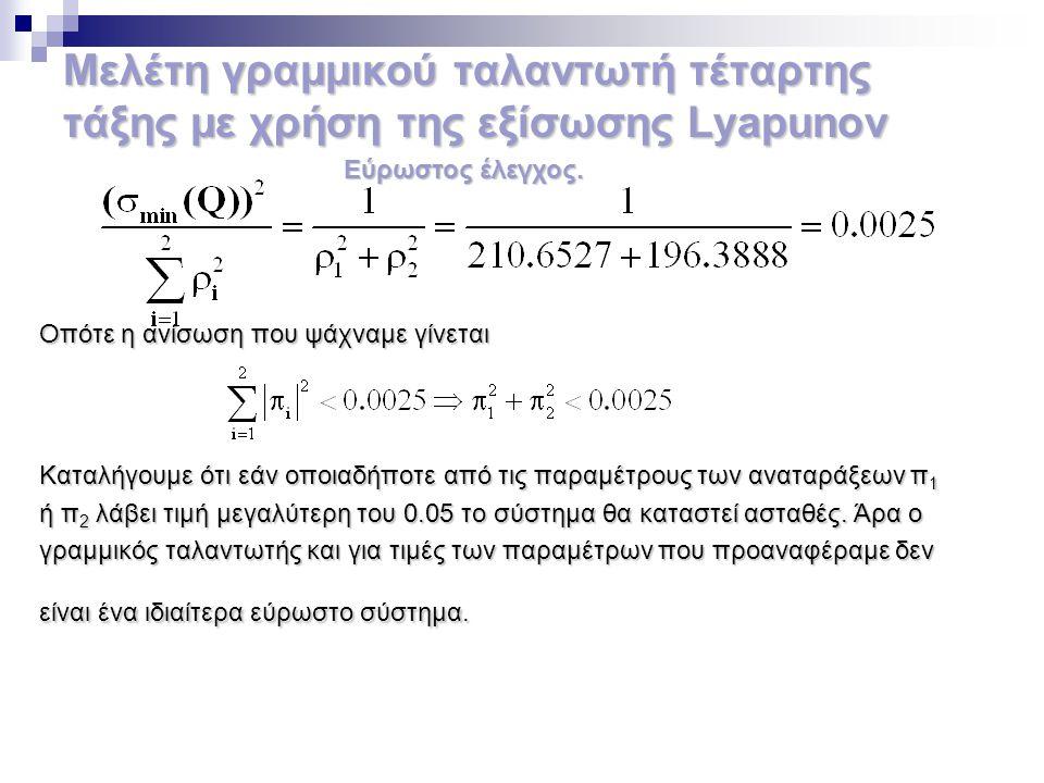 Μελέτη γραμμικού ταλαντωτή τέταρτης τάξης με χρήση της εξίσωσης Lyapunov Οπότε η ανίσωση που ψάχναμε γίνεται Καταλήγουμε ότι εάν οποιαδήποτε από τις π