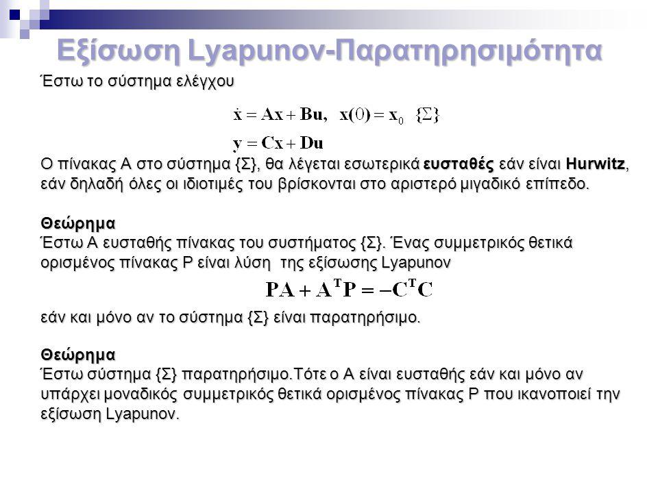 Εξίσωση Lyapunov-Παρατηρησιμότητα Έστω το σύστημα ελέγχου Ο πίνακας Α στο σύστημα {Σ}, θα λέγεται εσωτερικά ευσταθές εάν είναι Hurwitz, εάν δηλαδή όλε