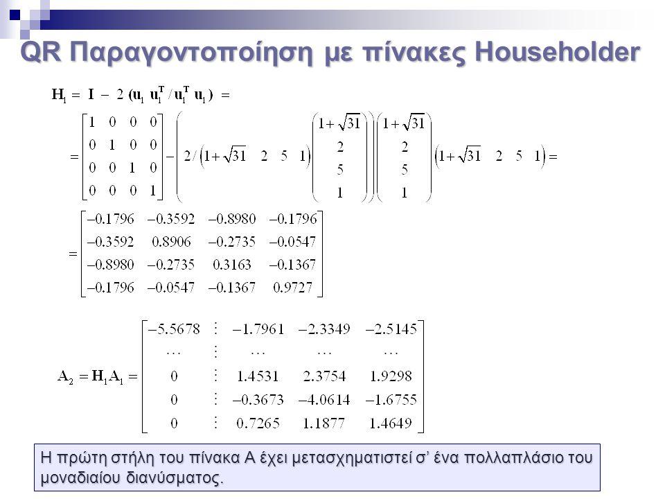 QR Παραγοντοποίηση με πίνακες Householder Η πρώτη στήλη του πίνακα Α έχει μετασχηματιστεί σ' ένα πολλαπλάσιο του μοναδιαίου διανύσματος.
