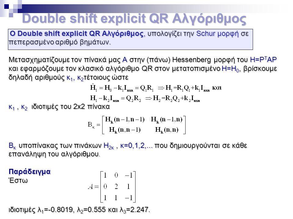 Double shift explicit QR Αλγόριθμος Double shift explicit QR Αλγόριθμος Ο Double shift explicit QR Αλγόριθμος, υπολογίζει την Schur μορφή σε πεπερασμέ