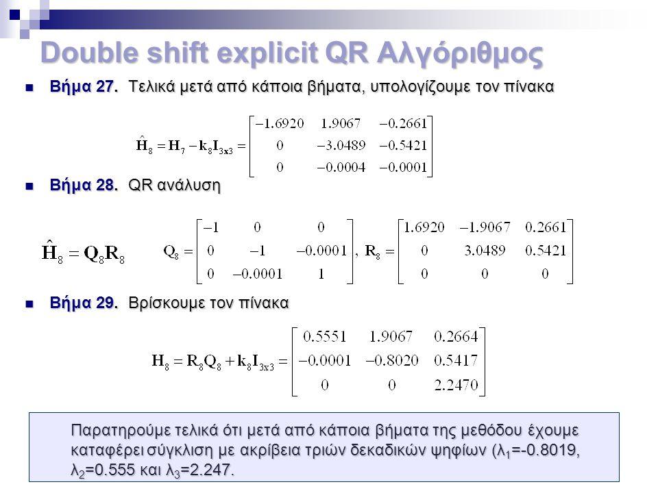Double shift explicit QR Αλγόριθμος Βήμα 27. Τελικά μετά από κάποια βήματα, υπολογίζουμε τον πίνακα Βήμα 27. Τελικά μετά από κάποια βήματα, υπολογίζου