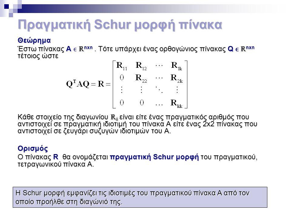 Πραγματική Schur μορφή πίνακα Θεώρημα Έστω πίνακας Α ℝ nxn. Τότε υπάρχει ένας ορθογώνιος πίνακας Q ℝ nxn τέτοιος ώστε Κάθε στοιχείο της διαγωνίου ℝ ii