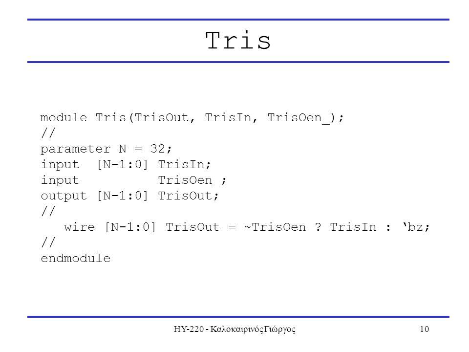 ΗΥ-220 - Καλοκαιρινός Γιώργος10 Tris module Tris(TrisOut, TrisIn, TrisOen_); // parameter N = 32; input [N-1:0] TrisIn; input TrisOen_; output [N-1:0] TrisOut; // wire [N-1:0] TrisOut = ~TrisOen .