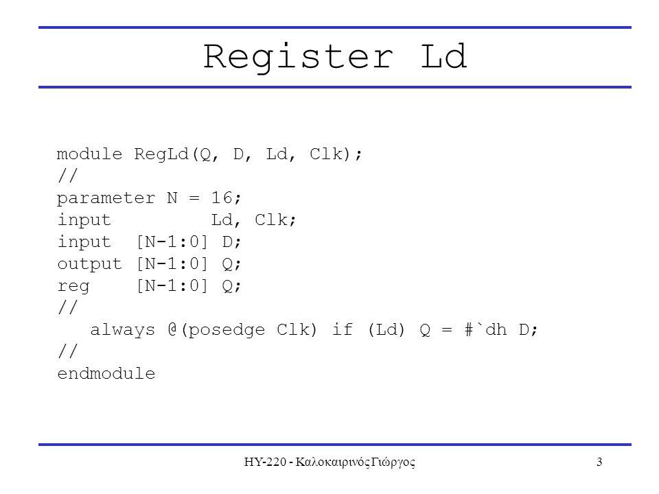 ΗΥ-220 - Καλοκαιρινός Γιώργος3 Register Ld module RegLd(Q, D, Ld, Clk); // parameter N = 16; input Ld, Clk; input [N-1:0] D; output [N-1:0] Q; reg [N-1:0] Q; // always @(posedge Clk) if (Ld) Q = #`dh D; // endmodule