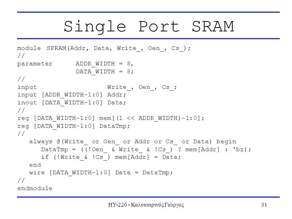ΗΥ-220 - Καλοκαιρινός Γιώργος31 Single Port SRAM moduleSPRAM(Addr, Data, Write_, Oen_, Cs_); // parameterADDR_WIDTH = 8, DATA_WIDTH = 8; // input Write_, Oen_, Cs_; input [ADDR_WIDTH-1:0] Addr; inout [DATA_WIDTH-1:0] Data; // reg [DATA_WIDTH-1:0] mem[(1 << ADDR_WIDTH)-1:0]; reg [DATA_WIDTH-1:0] DataTmp; // always @(Write_ or Oen_ or Addr or Cs_ or Data) begin DataTmp = ((!Oen_ & Write_ & !Cs_) .