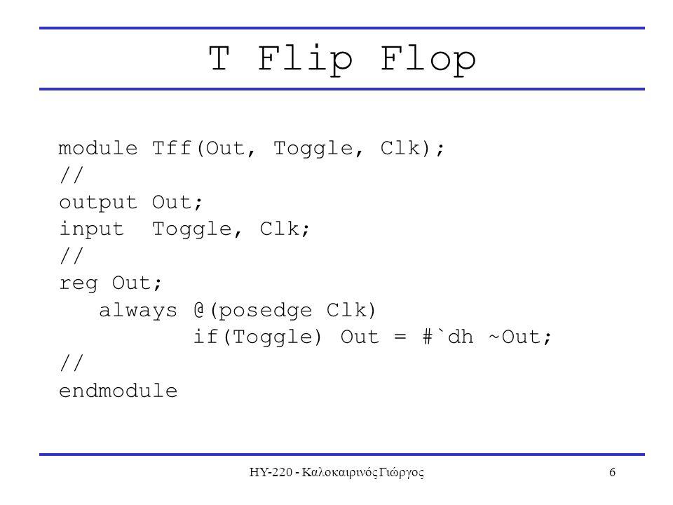ΗΥ-220 - Καλοκαιρινός Γιώργος7 Positive Edge Detector module PosEdgDet(Out, In, Clk); // input In, Clk; output Out; // reg Tmp; always @(posedge Clk) Tmp = #`dh In; wire Out = ~Tmp & In; // endmodule