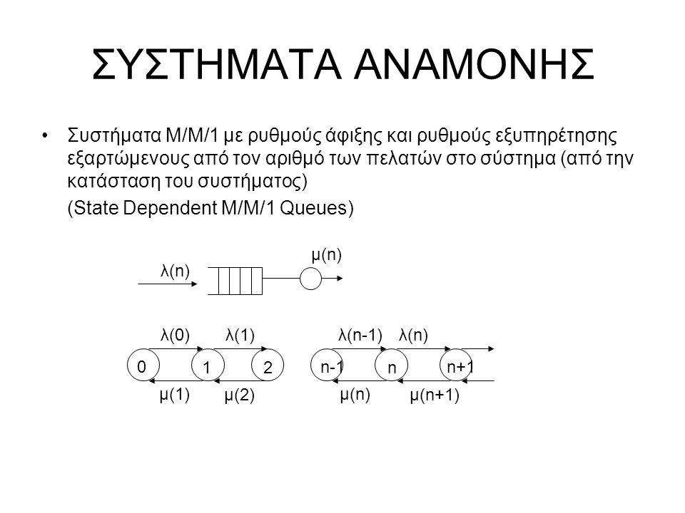 ΣΥΣΤΗΜΑΤΑ ΑΝΑΜΟΝΗΣ Παράδειγμα Ανάλυσης Ουρών Markov: M/M/1/K (ουρά με μέγιστη χωρητικότητα Κ, συμπεριλαμβανομένου του εξυπηρετουμένου) Πιθανότητα απώλειας, P{blocking} P bl = P Κ = P ο ρ Κ, P 0 = (1-ρ)/(1-ρ Κ+1 ) Ρυθμαπόδοση (Throughput) γ = λ (1- P Κ ) Μέση Καθυστέρηση Ε(Τ) = Ε(n)/γ
